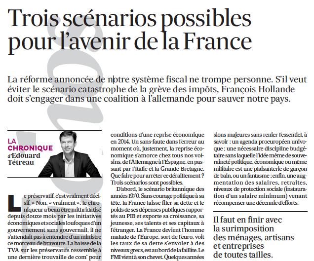 04-12-2013 Trois scénarios possibles pour l'avenir de la France