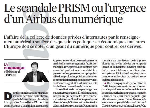 Le scandale PRISM ou l'urgence d'un Airbus du numérique
