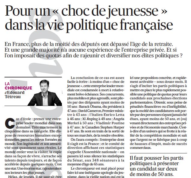 Pour un « choc de jeunesse » dans la vie politique française