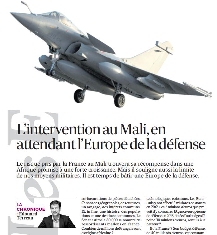 L'intervention au Mali, en attendant l'Europe de la défense