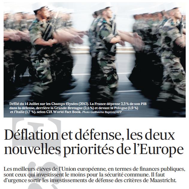 Déflation et défense, les deux nouvelles priorités de l'Europe