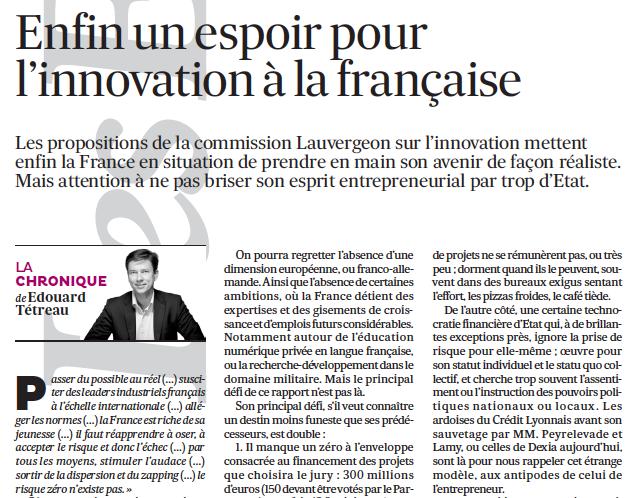 Enfin un espoir pour l'innovation à la française