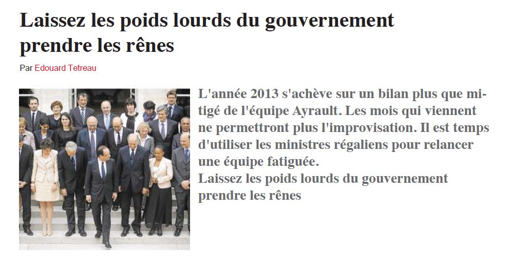 18-12-2013 Laissez les poids lourds du gouvernement prendre les rênes