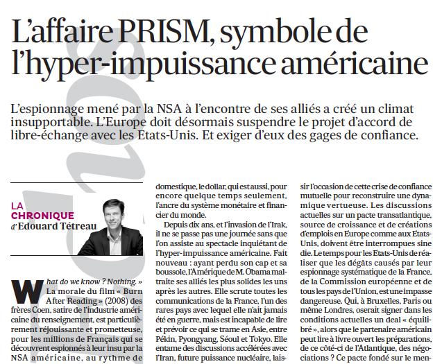 L'affaire PRISM, symbole de l'hyper-impuissance américaine