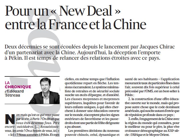 Pour un «NewDeal » entre la France et la Chine