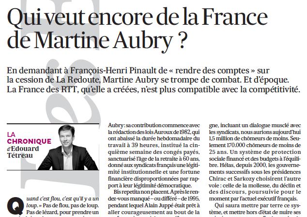 Qui veut encore de la France de Martine Aubry  ?