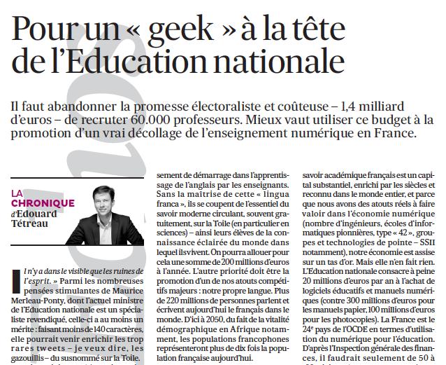Pour un « geek » à la tête de l'Education nationale