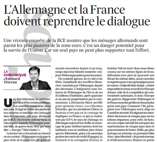 L'Allemagne et la France doivent reprendre le dialogue