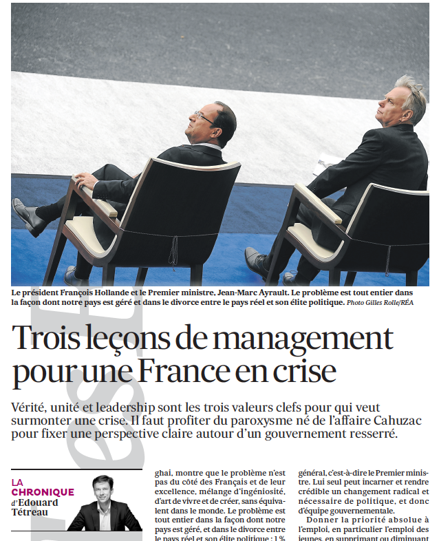 Trois leçons de management pour une France en crise