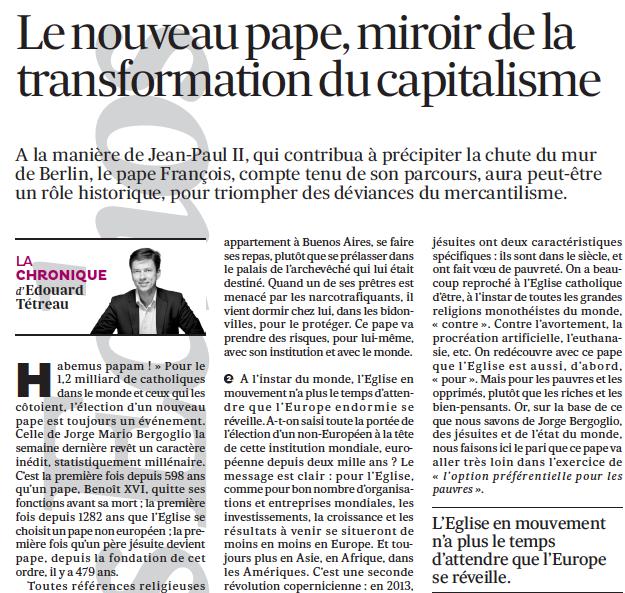 Le nouveau pape, miroir de la transformation du capitalisme