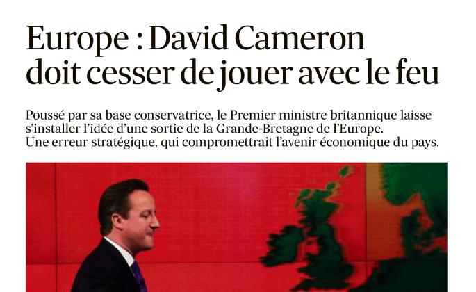 22-01-2014 Europe: David Cameron doit cesser de jouer avec le feu