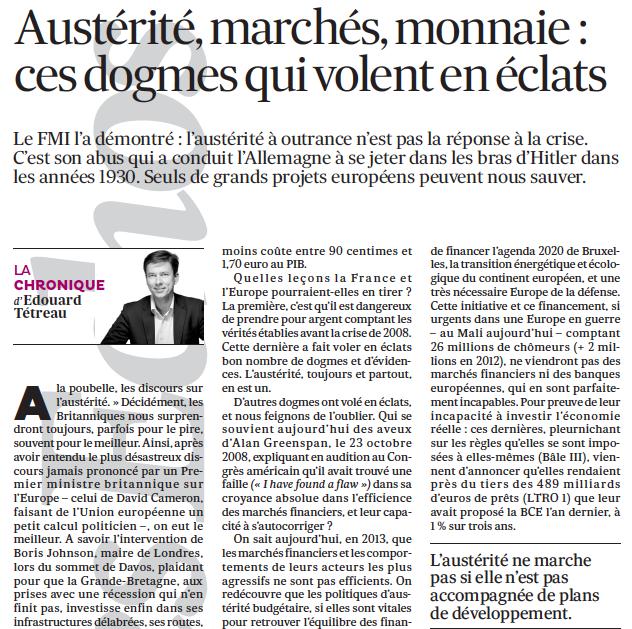 Austérité, marchés, monnaie : ces dogmes qui volent en éclats