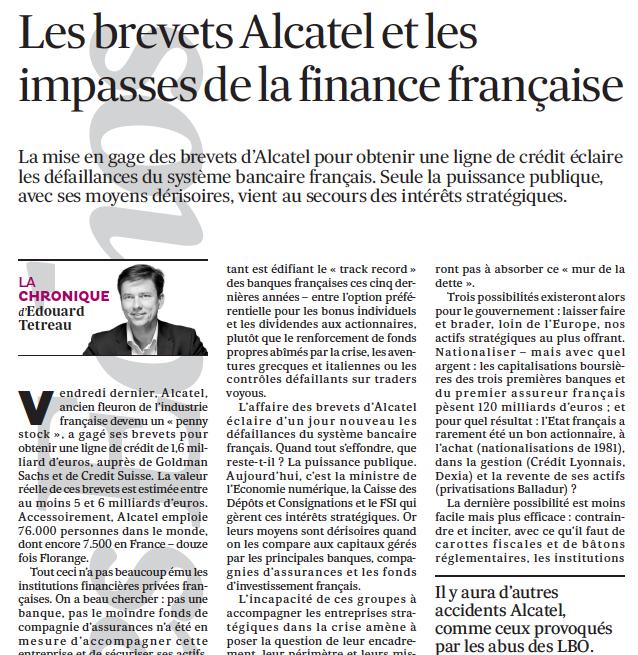 Les brevets Alcatel et les impasses de la finance française