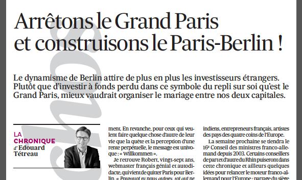 11-02-2014 Arrêtons le Grand Paris et construisons le Paris-Berlin !