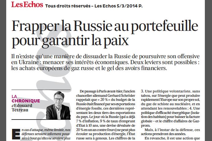 05-03-2014 Frapper la Russie au portefeuille pour garantir la paix