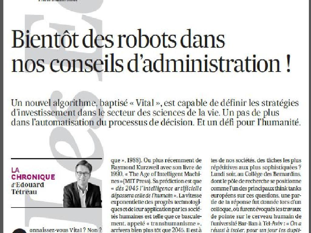 21-05-2014 Bientôt des robots dans nos conseils d'administration !