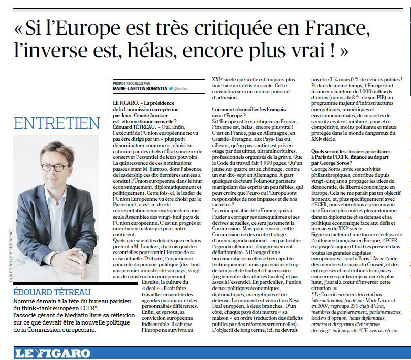 Interview Think-Tank Européen ECFR – Le Figaro 30-06-2014