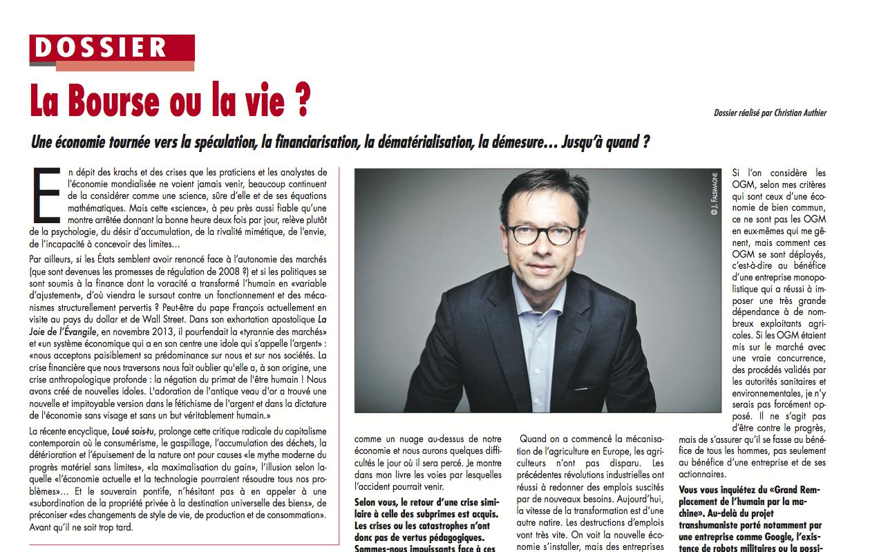 La Bourse ou la vie ? – Dossier L'Opinion 25-09-2015