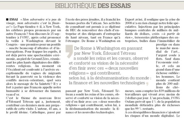 Le Figaro – Bibliothèque des essais – 19/09